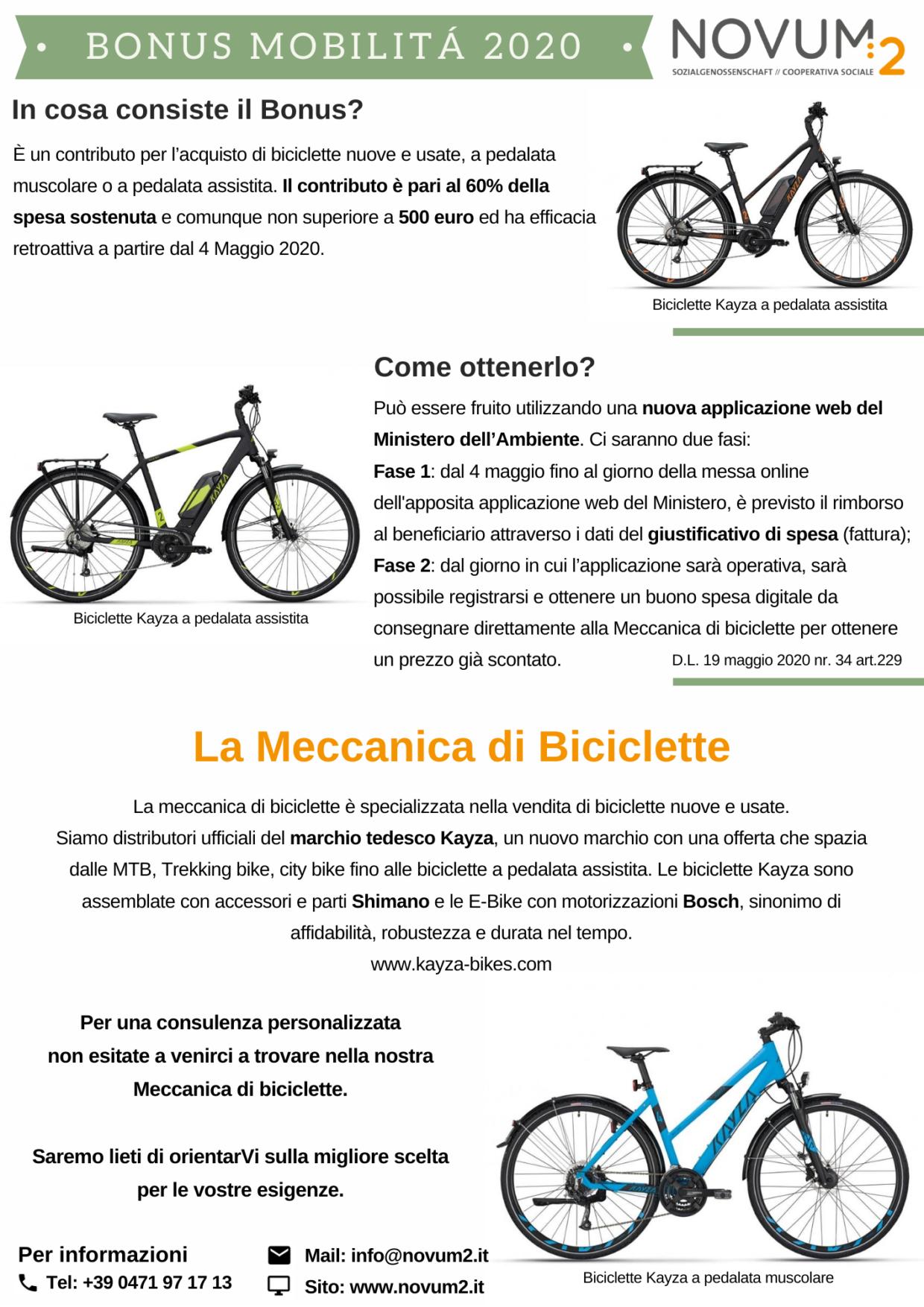 Bonus Mobilità_Meccanica Biciclette Novum2